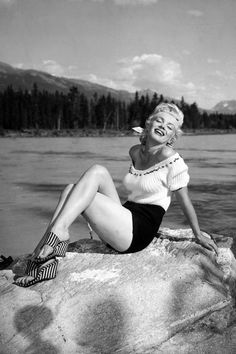 Marilyn Monroe vintage fashion style photo print ad model beach wear shorts peasant top....note 40s wedge shoes sandals thongs heels pumps platforms stripes