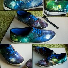 Nebula Shoes - Painted by hand by AlexandraSophie on DeviantArt Diy Galaxy Shoes, Galaxy Vans, Ballerinas, Sharpie Shoes, Bleach T Shirts, Creative Shoes, Creative Ideas, Ankle Boots, New Nike Shoes