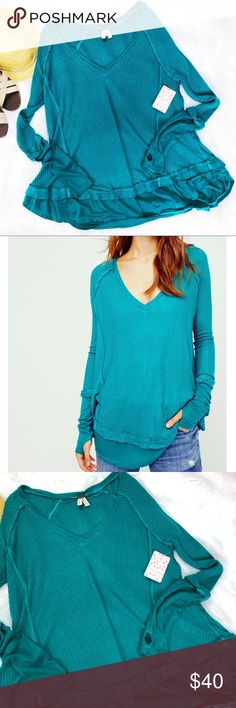 Free People Blue Laguna Thermal Top SMALL New with tags.  Size small.   So-soft drippy V-neck thermal in an effortlessly slouchy and swingy silhouette.  Unfinished edges.  Pretty greenish turquoise color(may vary from my screen to yours) Rounded hem.  Contrast solid trim detailing on the sleeves and hem.  Thumb holes.  Perfect for any collection! Free People Tops
