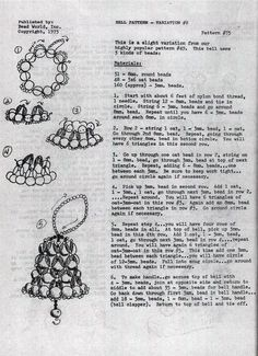 Beaded bell pattern for Bead World, 1975