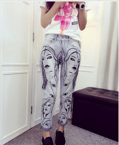 2015 boyfriend Jean for women hole ripped designer jeans women summer  capris pencil Cotton denim Pants be20e80dc4