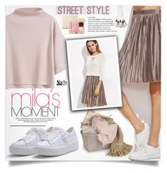 """SheIn Metallic Skirt Style"" by lillili25 ❤ liked on Polyvore featuring WithChic, Zara, French Connection, Clarins and shein"