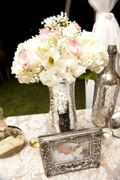 Mercury Glass Centerpieces on itsabrideslife.com/Wedding Flowers/Wedding Centerpieces/DIY Wedding Ideas/DIY Wedding Vases/DIY Mercury Glass
