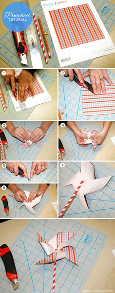 Love this #free #printable and step-by-step pinwheel tutorial - part of the Picnic Party Collection of free printables found here!