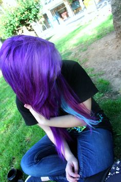 purple and blue scene hair Spring Hairstyles, Pretty Hairstyles, Scene Hairstyles, Coupes Emo, Pelo Emo, Emo Scene Hair, Dye My Hair, Love Hair, Purple Hair