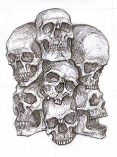 Pile of skulls by arimond on DeviantArt Skull Rose Tattoos, Bone Tattoos, Body Art Tattoos, Art Sketches, Art Drawings, Drawings Of Skulls, Insect Tattoo, Totenkopf Tattoos, Sketch Tattoo Design