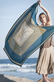 "Crocheted in the ""square"" from the center out, this design works equally well as a great oversized wrap or beach blanket"