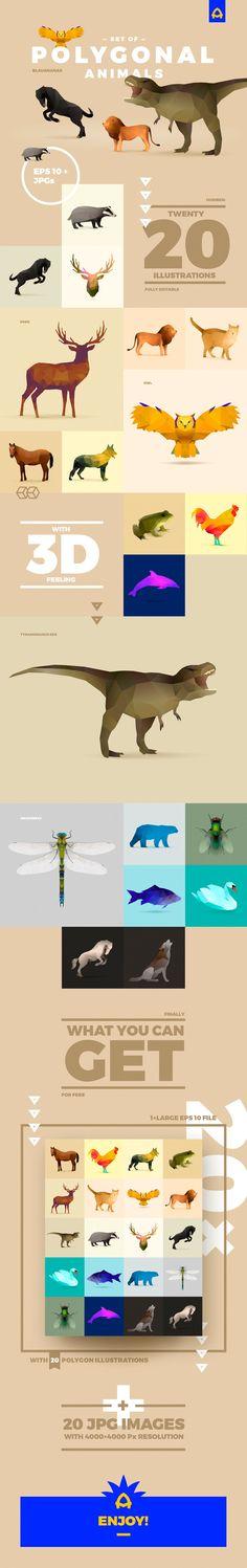 Polygonal Animals Set - download freebie by Pixelbuddha
