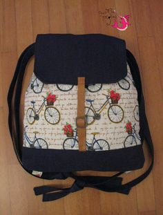 "Handmade backpack ""Blue bicycles"""