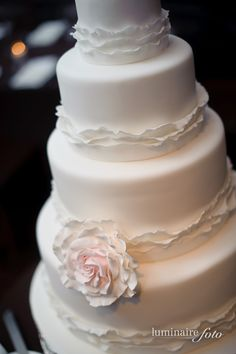 Amy Beck Cake Design - Chicago, IL - 4 Tier fondant wedding cake with delicate ruffles and roses - #amybeckcakedesign