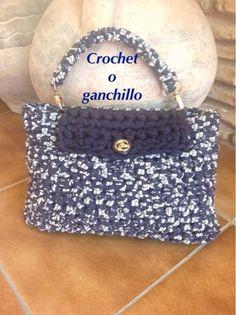 Crochet o ganchillo: BOLSO DE MANO ZPAGUETTI BLUE
