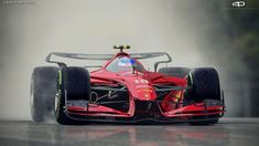 Italian designer Antonio Paglia shows his vision of a Formula 1 car through his futuristic paintings of iconic squads Ferrari, McLaren and Williams. Formula 1 Car, Ferrari F1, Lamborghini, Futuristic Cars, Modified Cars, Amazing Cars, Hot Cars, Custom Cars, Race Cars