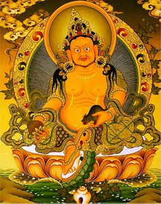 Tibetan Buddhist Thangka of Yellow Dzambhala, God of Wealth and Abundance Buddha Kunst, Buddha Art, Le Tibet, Tara Goddess, Yellow Artwork, Vajrayana Buddhism, Thangka Painting, Gautama Buddha, Thai Art