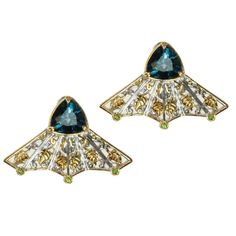 Michael Valitutti Two-tone London Blue Topaz and Chrome Diopside Earrings