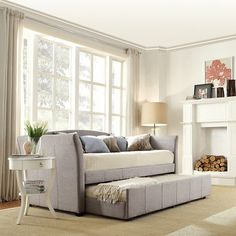 Turn your living room into a guest bedroom with this daybed that features a hidden trundle bed. This unique trundle daybed is designed to look like a regular sofa. This trundle daybed features a durab Bedroom Office Combo, Guest Room Office, Blake Grey, Upholstered Daybed, Pull Out Couch, Diy Home, Home Decor, Daybed With Trundle, Under Bed Storage