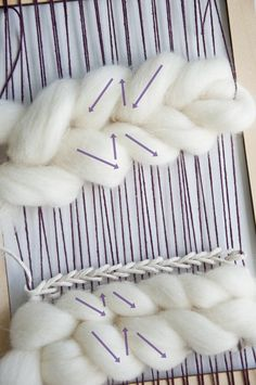 Weaving Techniques How to weave a fishtail braid with roving Weaving Loom Diy, Weaving Art, Tapestry Weaving, Weaving Patterns, Hand Weaving, Weaving Projects, Macrame Projects, Diy Craft Projects, Weaving Wall Hanging