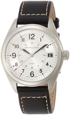 Hamilton Men's H68551753 Khaki Field Analog Display Swiss Quartz Black Watch. Stainless steel watch featuring round white dial with date display at 3 o'clock and 24-hour (GMT) time on inner dial. 40 mm stainless steel case with anti-reflective sapphire dial window. Swiss quartz movement with analog display. Leather band with buckle closure. Water Resistance 5 bar (50 m) / 73 psi (164 ft).