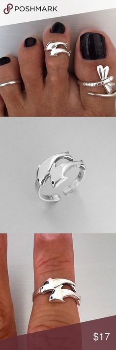 Sterling Silver Dolphins Toe Ring Sterling Silver Dolphins Toe Ring, Midi Ring, Pinky Ring, Adjustable Ring, 925 Sterling Silver, Face Height 9 mm Jewelry Rings