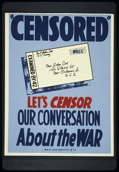 Poster from WWII discourages careless conversation. Created by WPA War Services, La.