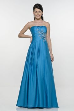 Discount Blue Embroider Beads Working Empire Wasit Taffeta Floor Length Evening Dress (ED-080) Online