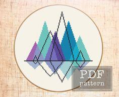 Mountain cross stitch pattern Mountain embroidery Geometric