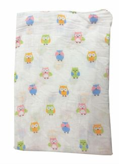 """100% pure cotton muslin, pre-washed for softness and suitable for all seasons.  Swaddle blanket is sized to 'grow with' baby for a custom fit every time.  47"""" x 47"""". A Little Bit Of This Muslin Girl Owl Blanket. Click the image to get more information about the product, including personalization options, at our online store!"""