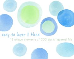 """""""Seaside Collection"""" Blue & Green watercolor circles & dots digital clip art. Hand painted watercolor digital clip art perfect for scrapbooking, card making, blogs, graphic design, logos,"""