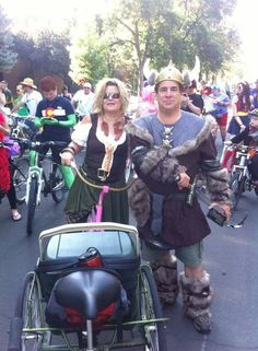 Mead Master, Greg & Mead Wench, Kim riding in the NEW BELGIUM Tour De Fat Bike Parade-August 2014