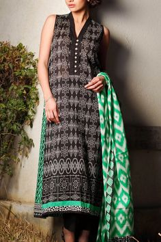 Buy Black Embroidered Cotton Lawn Dress by Khaadi Lawn Collection 2015.