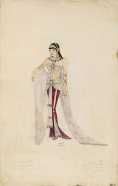 Cleopatra costume sketch -  Claudette Colbert in Cleopatra (Paramount, 1934) original costume design sketch by Paloma Gibson, on a design by Travis Banton, accomplished in ink, pencil & gouache