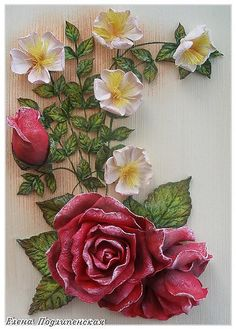 Discover thousands of images about Porcelain China Brands Cold Porcelain Flowers, Ceramic Flowers, Polymer Clay Flowers, Polymer Clay Crafts, Decoupage, Clay Wall Art, Pottery Painting Designs, Plaster Art, Clay Art Projects