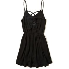 Hollister Printed Lace-Trim Skater Dress (€21) ❤ liked on Polyvore featuring dresses, vestidos, black, lace up skater dress, laced dress, lace detail dress, viscose dresses and lace front dress