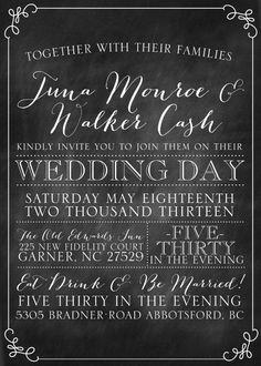 Chalkboard Vintage Chic Wedding Invitation by JulsNewbrough, $35.00