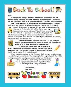 SUMMER BACK TO SCHOOL WELCOME LETTER FOR PRIMARY GRADES - TeachersPayTeachers.com