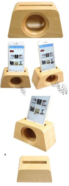 Wooden iPhone Speaker Sound Amplifier iPhone Cell Phone Station Stand Dock Mount Holder
