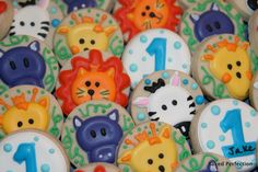 Mini Jungle Animals Hand Decorated Cookies/Birthday Favors/Baby Boy Birthday. $45.00, via Etsy.