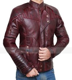 Guardians of the Galaxy Vol 2 Star Lord Leather Jacket. Best Leather Jackets, Men's Leather Jacket, Leather Men, Star Lord Costume, Star Lord Cosplay, Tactical Clothing, Blazers, Super Hero Costumes, Men's Wardrobe