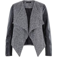 Black Textured Leather-Look Sleeve Waterfall Jacket (50 AUD) ❤ liked on Polyvore featuring outerwear, jackets, black jacket, sleeve jacket, open front jacket, waterfall jacket and black waterfall jacket