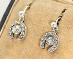 Victorian Silver and Paste Horseshoe Earrings c1900