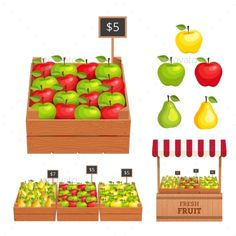 Fruit Set (Vector EPS, CS, agricultural, apple, background, business, cartoon, colorful, drawing, farm, farmer, food, fresh, fruit, grocery, illustration, lifestyle, market, organic, pear, produce, sale, sell, shop, shopping, stall, stand, store, vector, vegetable, vegetarian, vitamin)