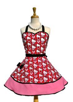 Retro Apron - Hello Kitty Apron, Sweetheart Womens Apron, Feminine Flirty Bodice in Red/Pink/Black, Pinup Apron on Etsy, $42.67 CAD
