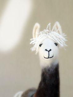 Debora - Felt Llama, Art Marionette Puppet Handmade Stuffed Toy. Alpaca. brown cream white neutral.