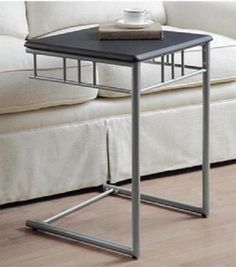 Black Accent Table Silver Metal Stand Snack TV Tray Dinner Portable Square