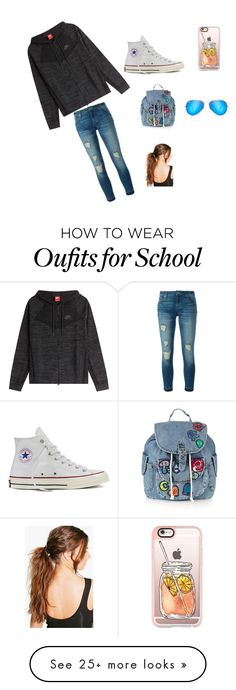 """""""School tym"""" by silentsabah on Polyvore featuring MICHAEL Michael Kors, NIKE, Converse, Topshop, Casetify, Ray-Ban and Boohoo"""