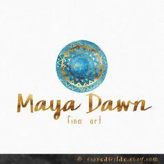 Blue Mandala Logo Design , Geometrical Logo , Watercolor Mandala , Blue and Gold , Tribal Logo , Bohemian Logo , Yoga Logo ,  Doula Logo