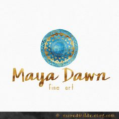 Blue Mandala Logo Design , Geometrical Logo , Watercolor Mandala , Blue and Gold , Tribal Logo , Bohemian Logo , Yoga Logo ,  Doula Logo