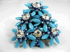 Gorgeous Rhinestone Stanley Hagler Brooch Christmas Tree Brooch