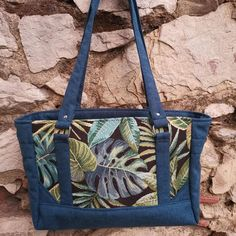 Sac Carioca bleu et jacquard à feuilles cousu par Lucile - Patron Sacôtin
