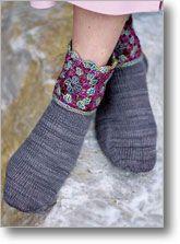 Granddaughter Socks designed by Karen Baumer. Granny square socks using crochet and knit techniques. Crochet Stitches Patterns, Knitting Patterns, Mitten Gloves, Mittens, Crochet Granny, Knit Crochet, Spiral Pattern, Knitting Socks, Knit Socks
