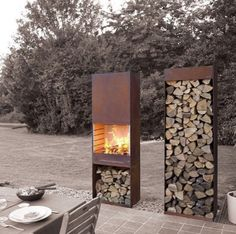 by François Royen by TOLE the outdoor living experienceArchiExpo TOLE Garden Fire & Barbeque – Corten steel outdoor fireplace and firewood storage Design Barbecue, Corten Steel, Outdoor Living, Outdoor Decor, Outdoor Projects, Garden Inspiration, Exterior Design, Outdoor Gardens, Landscape Design
